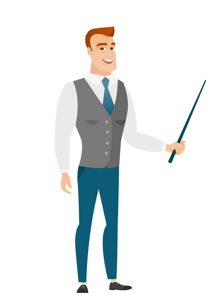 Caucasian businessman holding pointer stick. Full length of young businessman with pointer stick. Businessman pointing with pointer stick. Vector flat design illustration isolated on white background