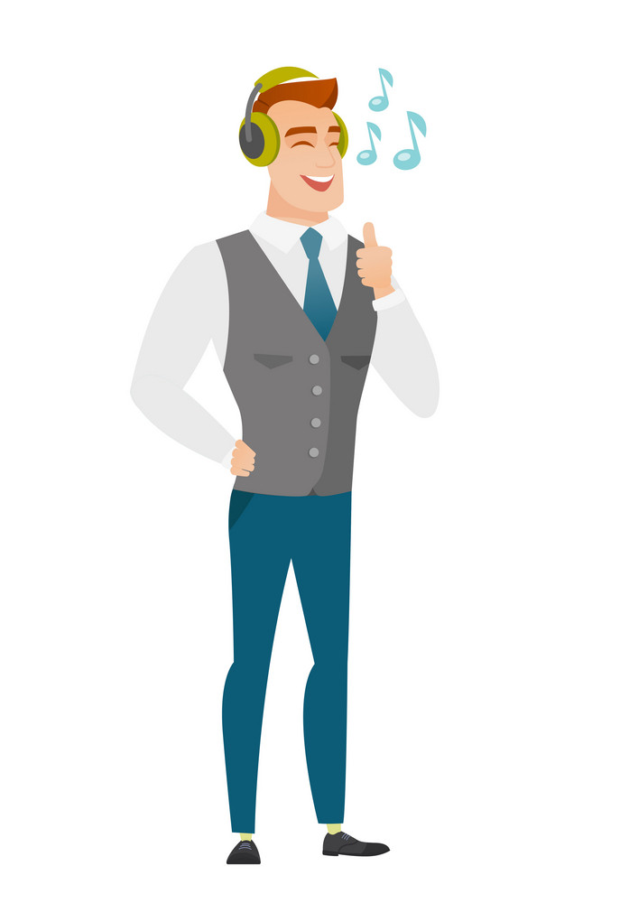 Caucasian businessman listening to music in headphones. Full length of businessman with his eyes closed listening to music in headphones. Vector flat design illustration isolated on white background.