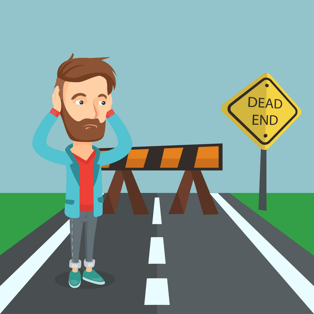 Caucasian businessman looking at road sign dead end symbolizing business obstacle. Businessman facing with business obstacle. Business obstacle concept. Vector flat design illustration. Square layout.
