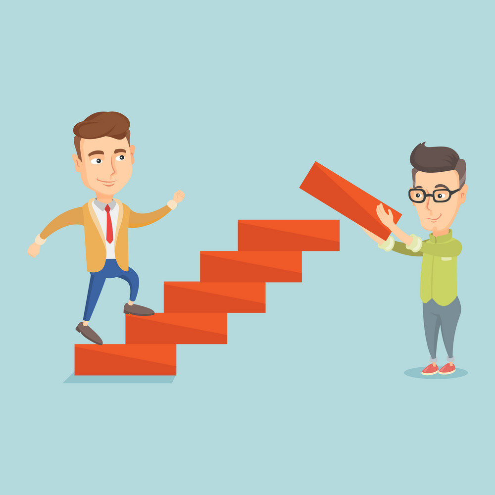 Caucasian businessman runs up the career ladder while another man builds this ladder. Businessman climbing the career ladder. Concept of business career. Vector flat design illustration. Square layout