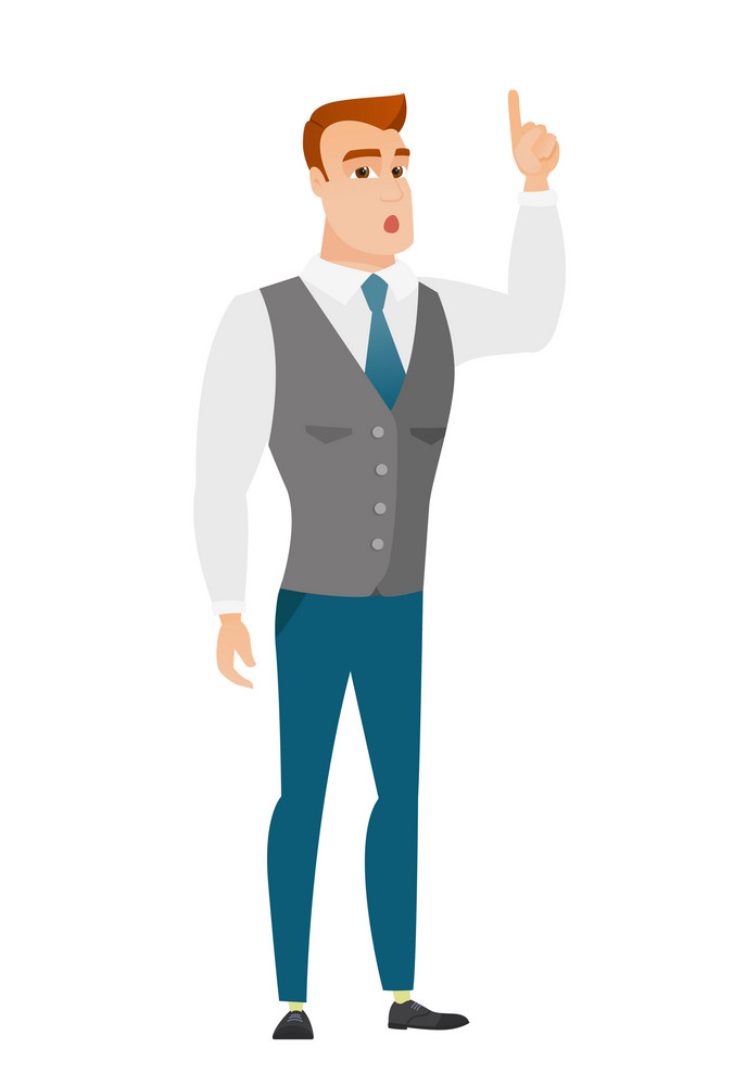 Caucasian businessman with open mouth pointing finger up. Full length of young businessman with open mouth came up with business idea. Vector flat design illustration isolated on white background.