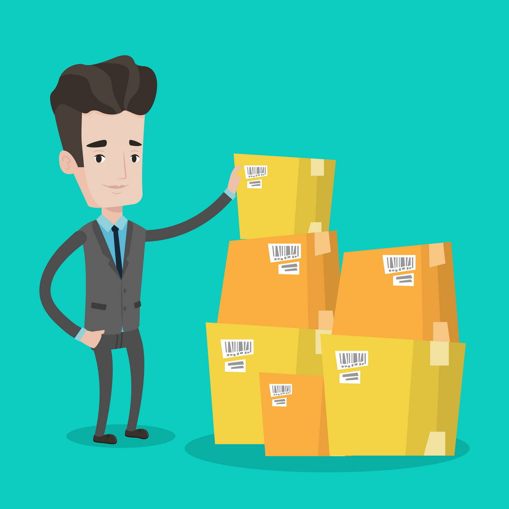 Caucasian businessman working in warehouse. Businessman checking boxes in warehouse. Young businessman in warehouse preparing goods for dispatch. Vector flat design illustration. Square layout.