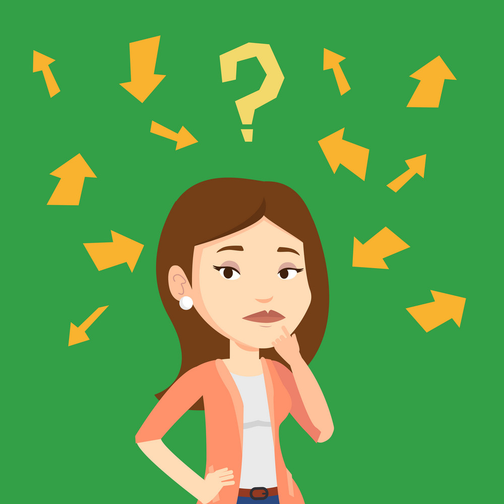 Caucasian businesswoman standing under question mark and arrows. Businesswoman thinking. Thoughtful businesswoman surrounded by question mark and arrows. Vector flat design illustration. Square layout