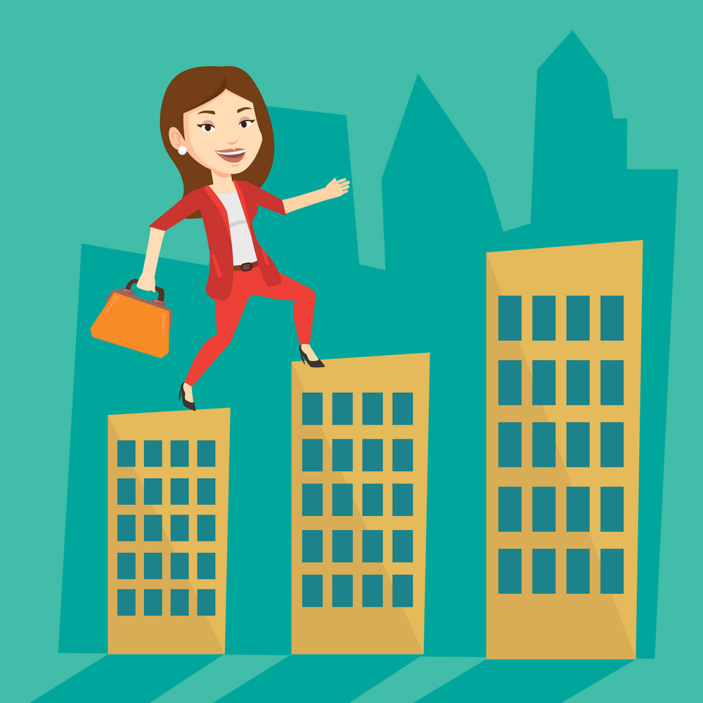 Caucasian businesswoman walking on the roofs of city buildings. Businesswoman walking on the roofs of skyscrapers. Businesswoman walking to the success. Vector flat design illustration. Square layout.