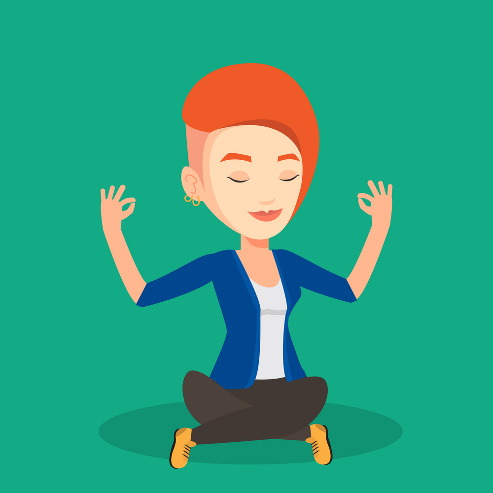 Caucasian businesswoman with eyes closed meditating in yoga lotus position. Businesswoman relaxing in the yoga lotus position. Businesswoman doing yoga. Vector flat design illustration. Square layout.