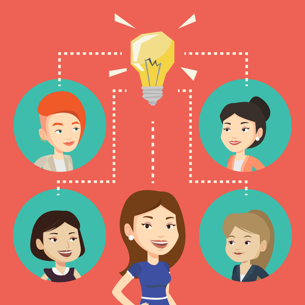 Caucasian businesswomen working on business ideas. Businesswomen discussing business idea. Group of businesswomen connected by one idea light bulb. Vector flat design illustration. Square layout.