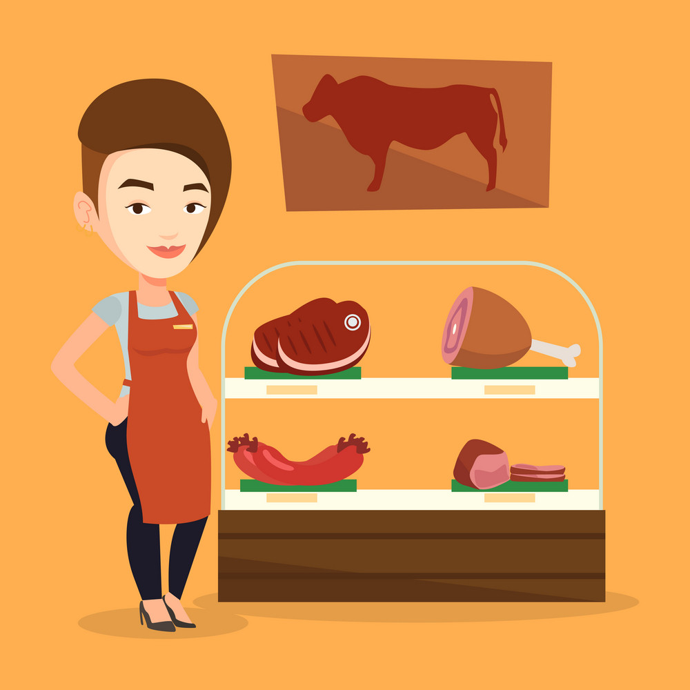 Caucasian butcher offering meat at display in butchery. Butcher at work at the counter in butchery. Butcher standing on the background of storefront. Vector flat design illustration. Square layout.
