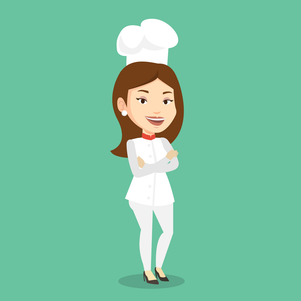 Caucasian cheerful chief cook in uniform and hat standing with arms crossed. Young caucasian chef cook. Full length of confident female chief cook. Vector flat design illustration. Square layout.