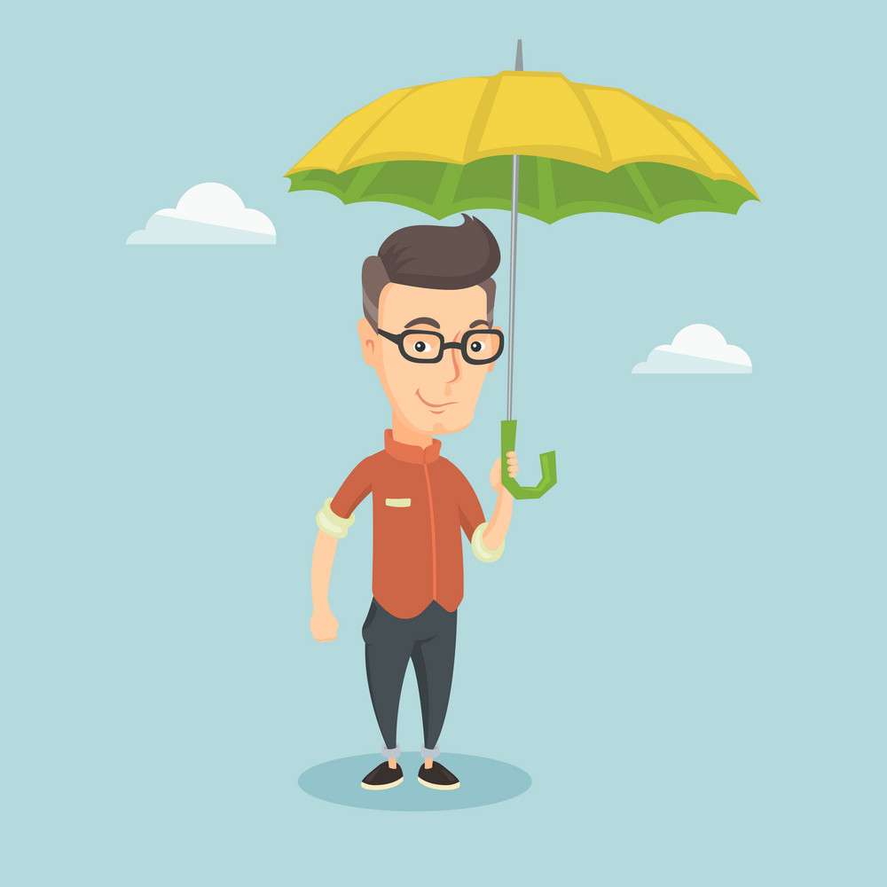 Caucasian cheerful insurance agent. Young insurance agent standing safely under umbrella. Business insurance and business protection concept. Vector flat design illustration. Square layout.