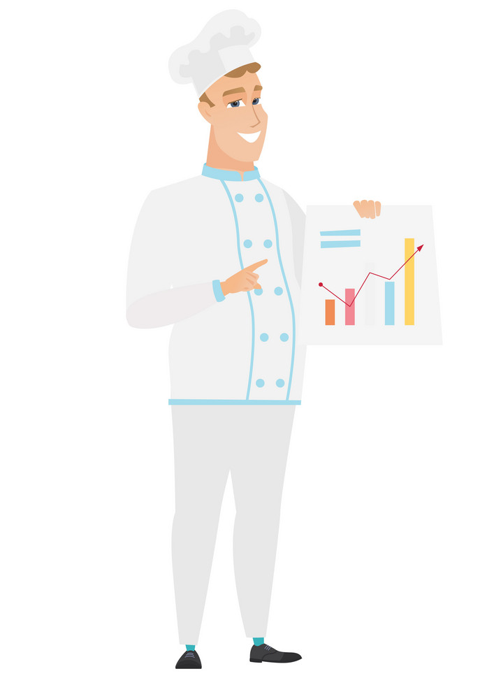 Caucasian chef cook giving business presentation and showing financial chart. Full length of young chef cook pointing at financial chart. Vector flat design illustration isolated on white background.