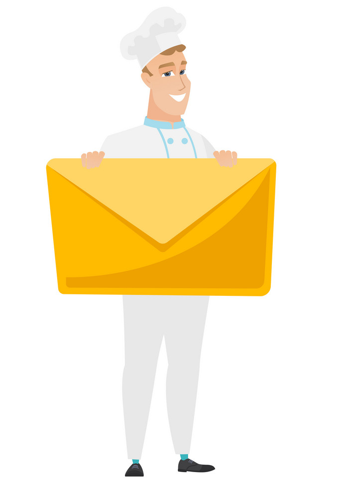 Caucasian chef cook holding a big envelope. Full length of chef cook holding a big envelope. Cheerful chef cook with a big envelope. Vector flat design illustration isolated on white background.