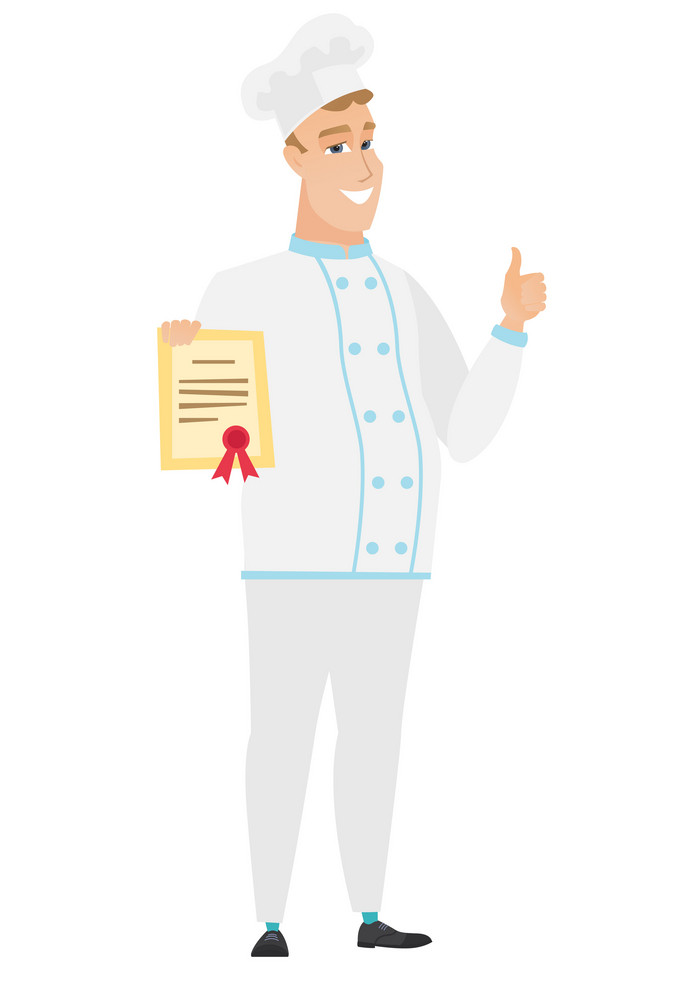 Caucasian chef cook holding a certificate. Full length of chef cook with certificate. Chef cook showing certificate and giving thumbs up. Vector flat design illustration isolated on white background.