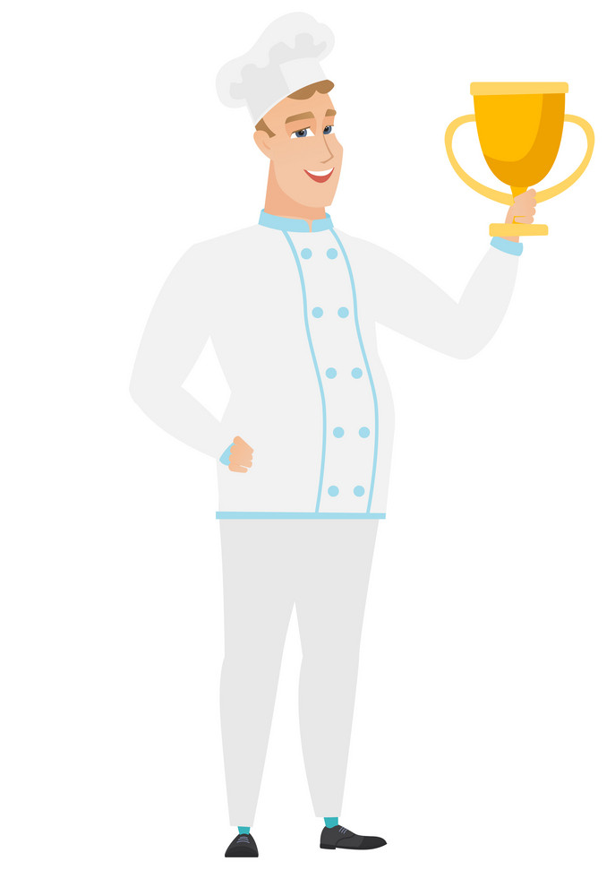 Caucasian chef cook holding a golden trophy. Full length of young chef cook with trophy. Happy chef cook celebrating with golden trophy. Vector flat design illustration isolated on white background.