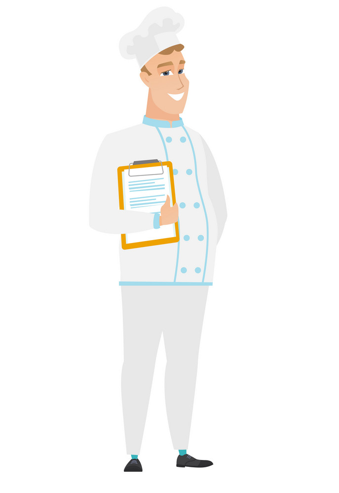 Caucasian chef cook holding clipboard with documents. Full length of chef cook with documents. Chef cook in uniform holding documents. Vector flat design illustration isolated on white background.