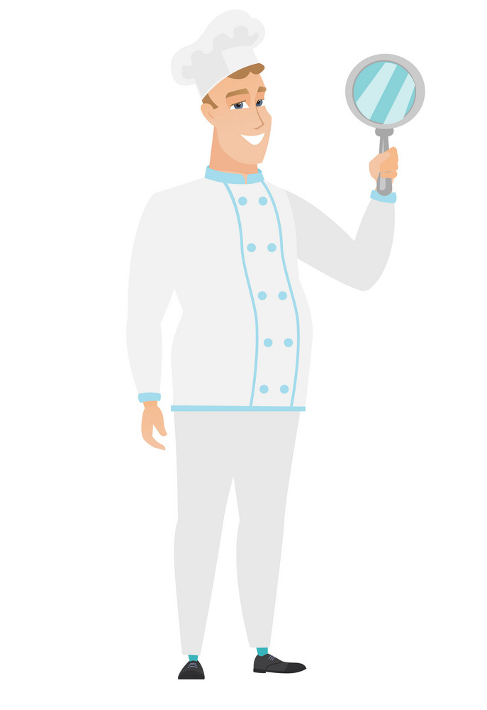Caucasian chef cook holding hand mirror. Full length of chef cook looking at himself in a hand mirror. Smiling chef cook with hand mirror. Vector flat design illustration isolated on white background.