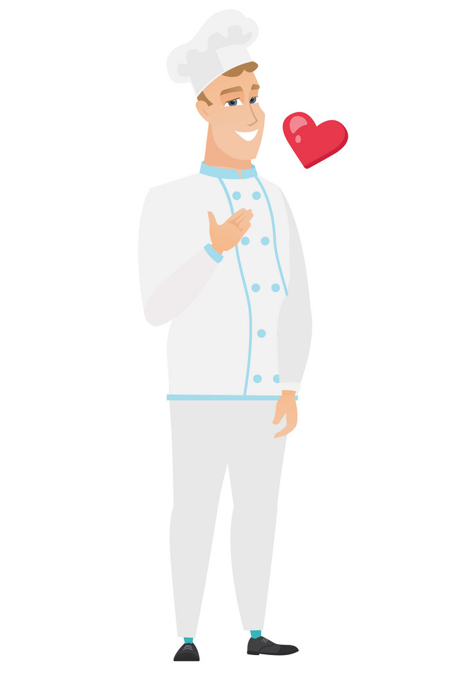 Caucasian chef cook holding hand on his chest. Full length of young happy chef cook with hand on his chest and red heart flying nearby. Vector flat design illustration isolated on white background.