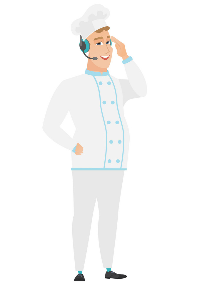 Caucasian chef cook in headset with microphone. Full length of young chef cook in uniform wearing headset and talking into the microphone. Vector flat design illustration isolated on white background.