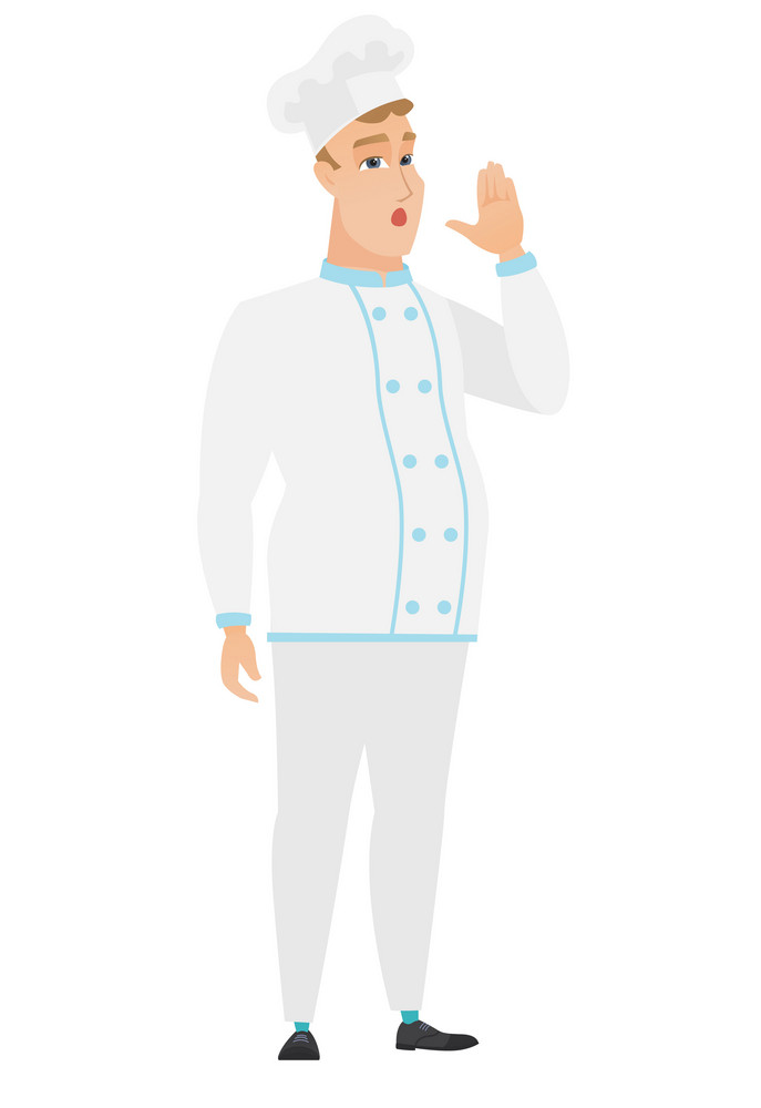 Caucasian chef cook in uniform calling for help. Full length of scared chef cook calling for help. Chef cook in trouble calling for help. Vector flat design illustration isolated on white background.