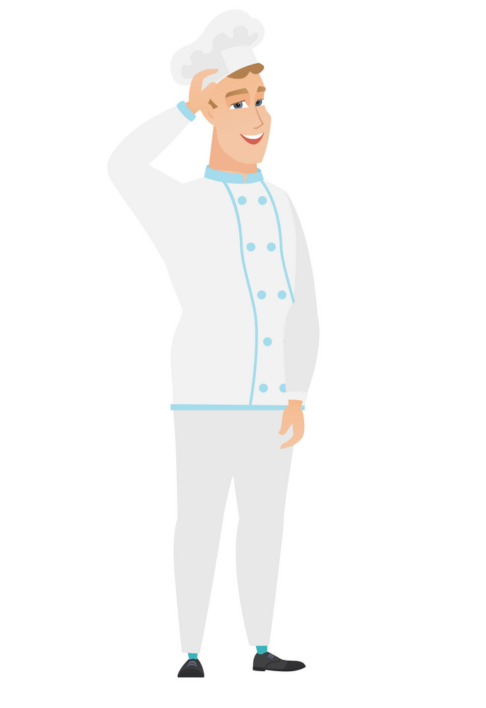 Caucasian chef cook in uniform. Chef cook in uniform laughing with hand on his head. Chef cook in uniform laughing ant touching his hat. Vector flat design illustration isolated on white background.