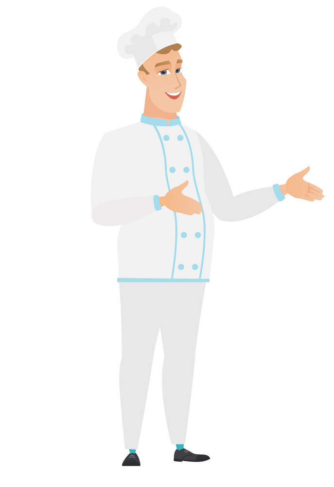 Caucasian chef cook in uniform gesturing. Full length of cheerful chef cook gesturing with his hands. Chef cook laughing and gesturing. Vector flat design illustration isolated on white background.