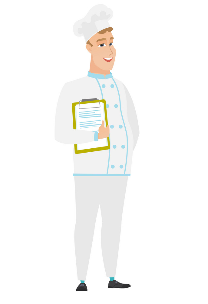 Caucasian chef cook in uniform holding clipboard with papers. Full length of chef cook with papers. Young smiling chef cook holding papers. Vector flat design illustration isolated on white background