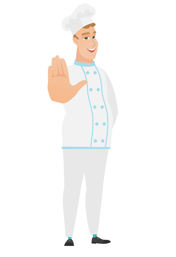 Caucasian chef cook in uniform showing palm hand. Full length of chef cook showing palm hand. Chef cook making stop gesture by his palm. Vector flat design illustration isolated on white background.