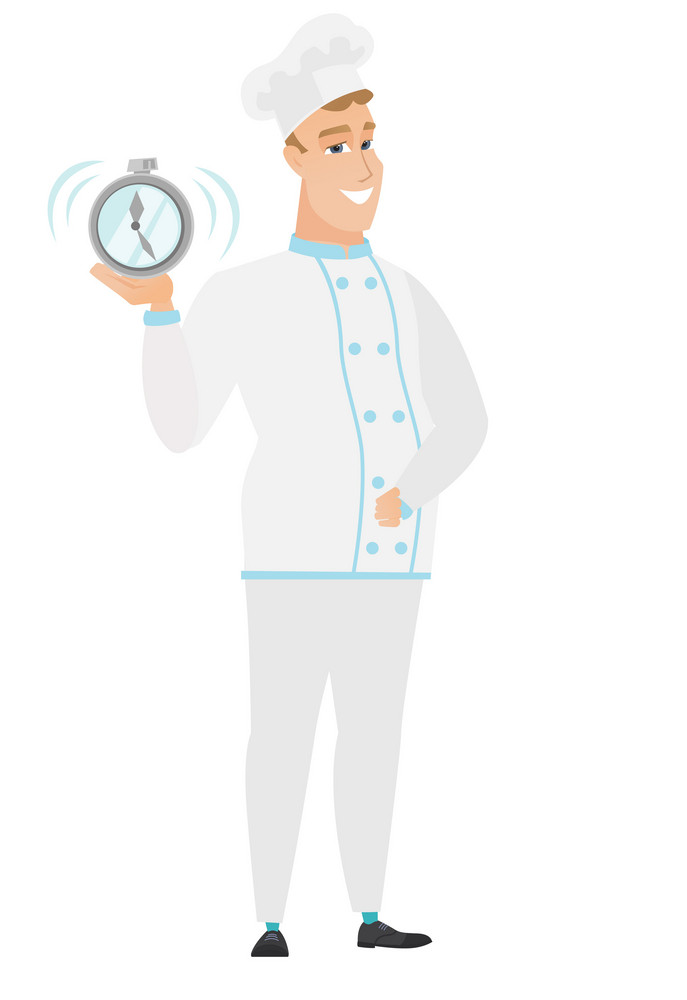 Caucasian chef cook in uniform showing ringing alarm clock. Full length of chef cook with alarm clock. Happy chef cook holding alarm clock. Vector flat design illustration isolated on white background