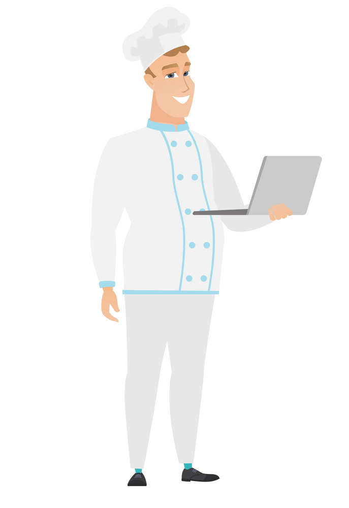 Caucasian chef cook in uniform using laptop. Full length of young smiling chef cook working on a laptop. Cheerful chef cook holding laptop. Vector flat design illustration isolated on white background