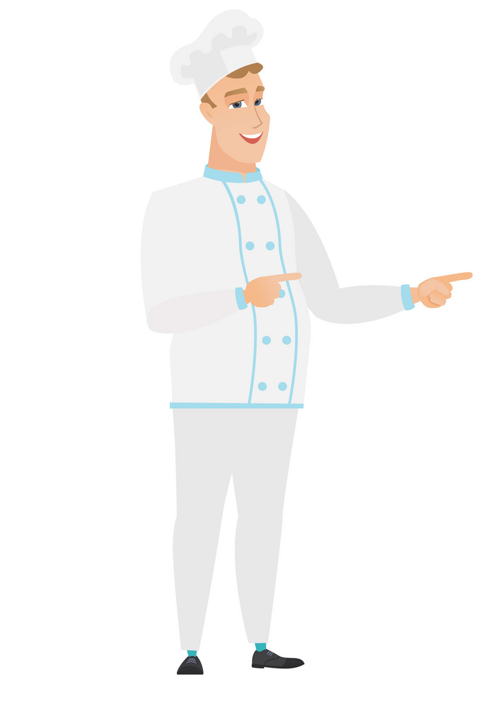 Caucasian chef cook indicating with two fingers to the side. Full length of cheerful chef cook pointing with two fingers to the side. Vector flat design illustration isolated on white background.