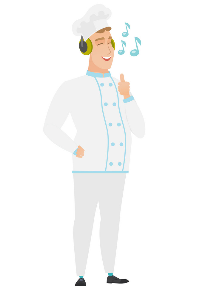 Caucasian chef cook listening to music in headphones. Full length of chef cook with his eyes closed listening to music in headphones. Vector flat design illustration isolated on white background.
