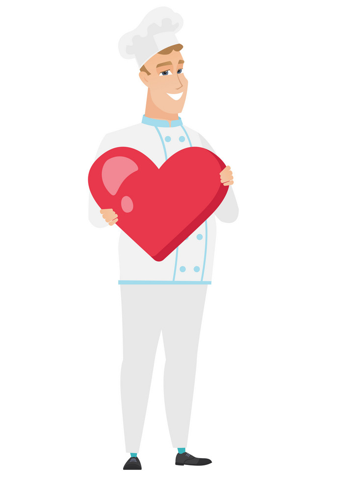 Caucasian chef cook showing a big red heart. Full length of young chef cook with heart shape. Happy chef cook holding a red heart. Vector flat design illustration isolated on white background.