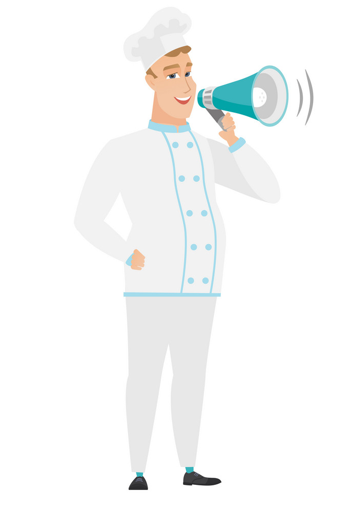 Caucasian chef cook with a loudspeaker making an announcement. Full length of chef cook making an announcement through a loudspeaker. Vector flat design illustration isolated on white background.