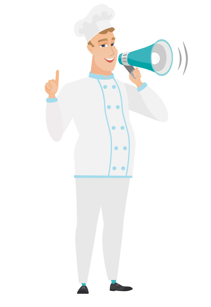 Caucasian chef cook with a megaphone making an announcement. Chef cook making an announcement through a megaphone and pointing finger up. Vector flat design illustration isolated on white background.