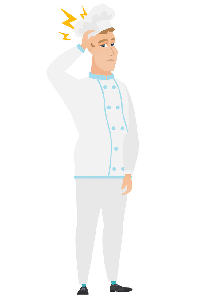 Caucasian chef cook with lightning over head. Full length of chef cook with lightning. Confident chef cook standing under lightning. Vector flat design illustration isolated on white background.
