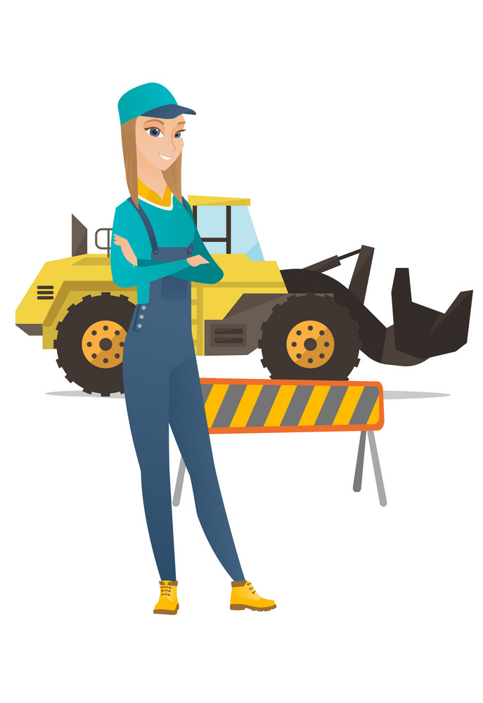 Caucasian confident builder standing on the background of excavator and road barrier. Young confident builder standing with arms crossed. Vector flat design illustration isolated on white background.