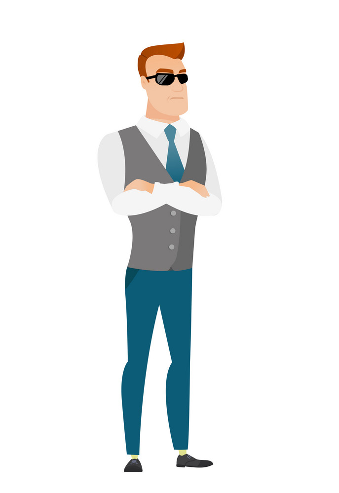Caucasian confident businessman wearing sunglasses. Full length of young business man in sunglasses. Serious bodyguard in sunglasses. Vector flat design illustration isolated on white background.