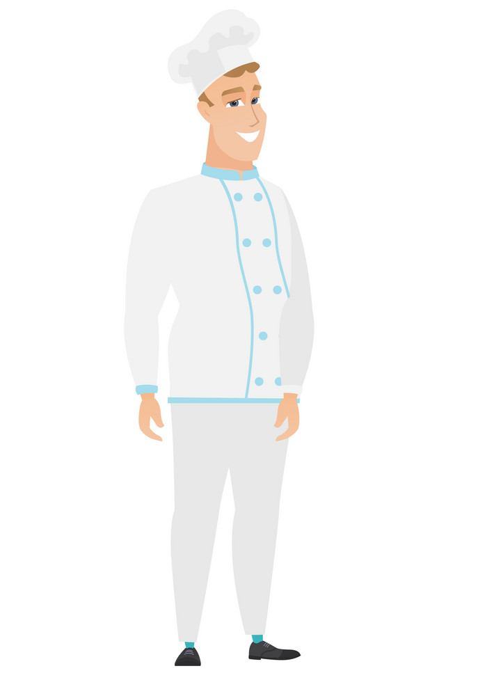 Caucasian confident chef cook in uniform. Full length of smiling confident chef cook. Chef cook standing in a pose signifying confidence. Vector flat design illustration isolated on white background.