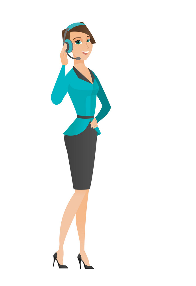 Caucasian customer service operator in headset with microphone. Full length of young customer service operator in headset with microphone. Vector flat design illustration isolated on white background.