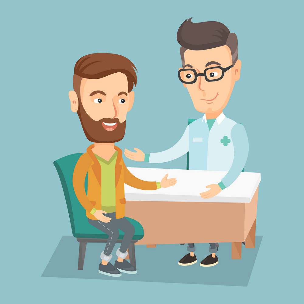 Caucasian doctor consulting hipster patient in office. Doctor talking to smiling patient. Doctor communicating with patient about his state of health. Vector flat design illustration. Square layout.