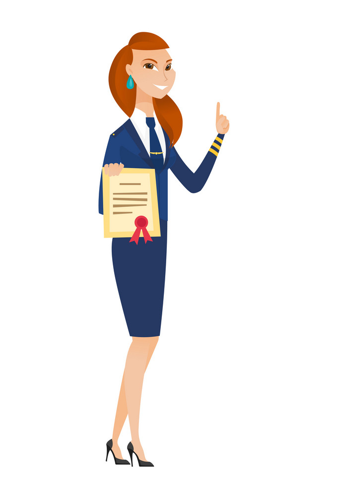 Caucasian doctor holding a stewardess. Full length of young stewardess with certificate. Stewardess showing certificate and finger up. Vector flat design illustration isolated on white background.