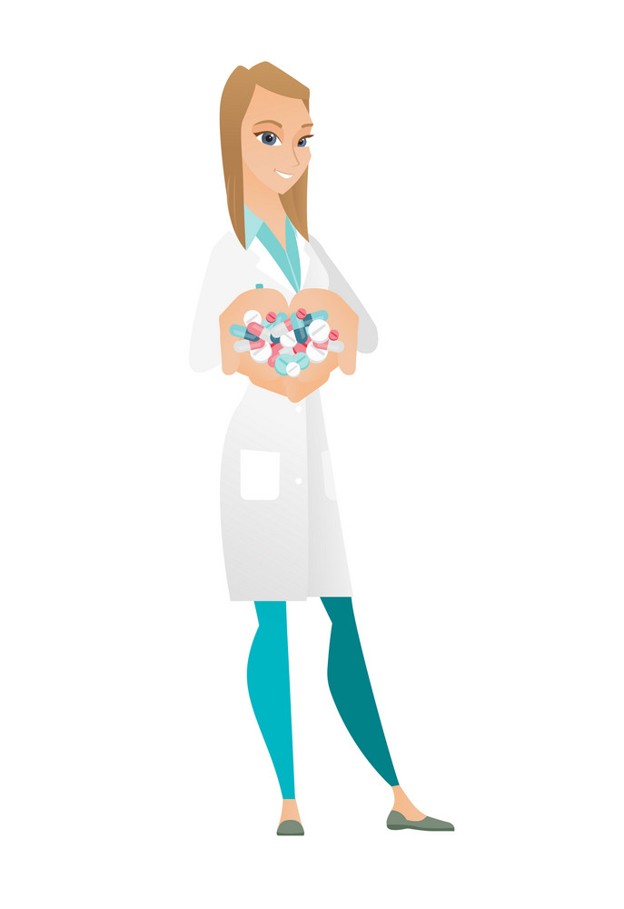 Caucasian doctor holding lots of pills in hands. Young doctor in medical gown with handful of pills. Cheerful female doctor giving pills. Vector flat design illustration isolated on white background.