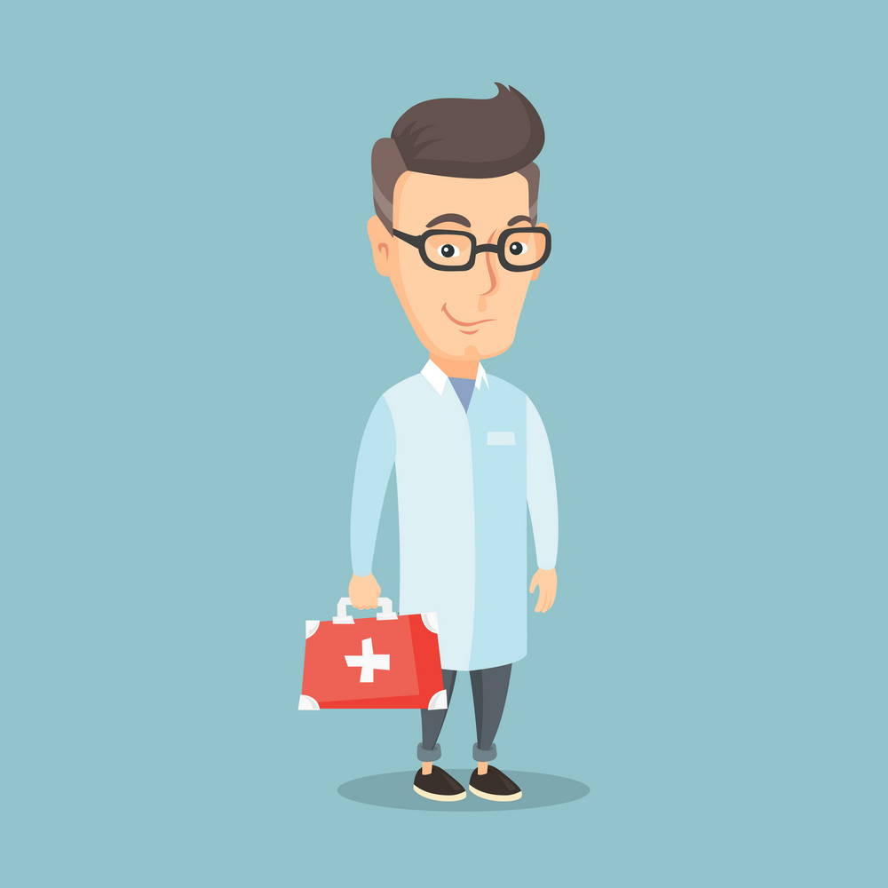 Caucasian doctor in medical gown holding first aid box. Friendly doctor in uniform standing with first aid kit. An adult doctor carrying first aid box. Vector flat design illustration. Square layout.