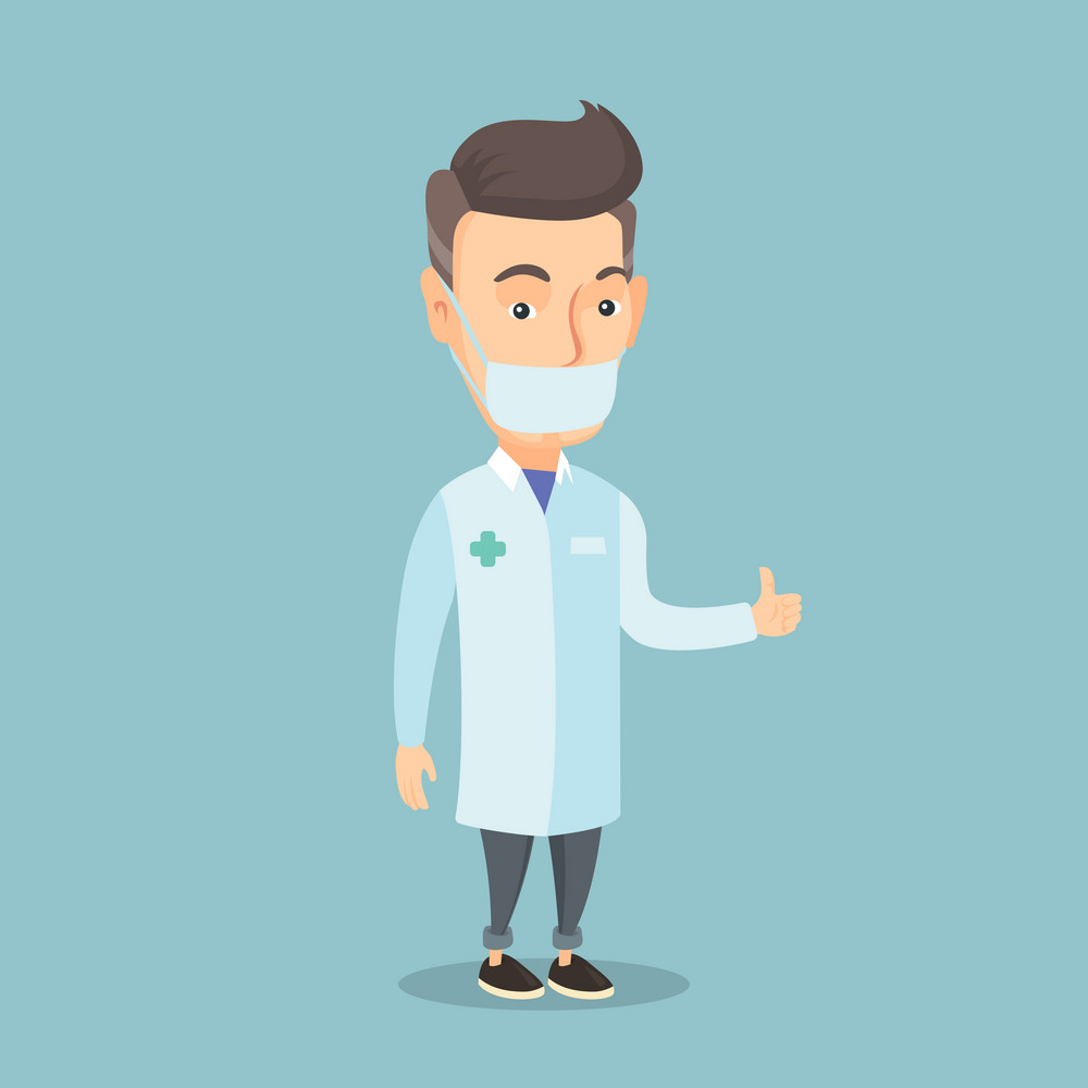 Caucasian doctor in medical mask giving thumbs up. An adult doctor in medical gown showing thumbs up gesture. Doctor with gesture thumb up. Vector flat design illustration. Square layout.