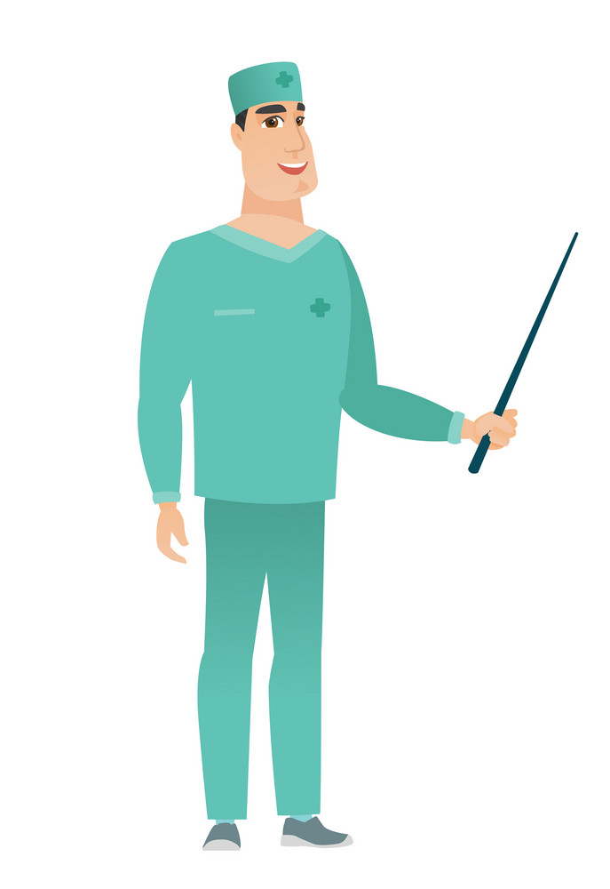 Caucasian doctor in uniform holding pointer stick. Full length of young doctor with pointer stick. Doctor pointing with pointer stick. Vector flat design illustration isolated on white background.