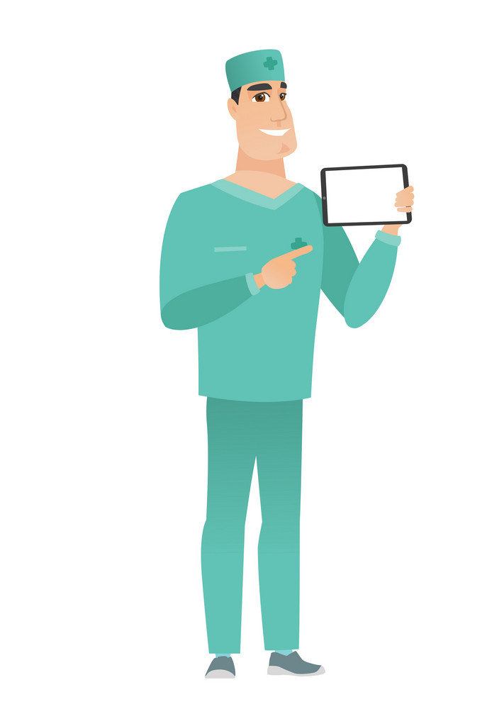 Caucasian doctor in uniform holding tablet computer. Full length of doctor pointing at tablet computer. Doctor with tablet computer. Vector flat design illustration isolated on white background.