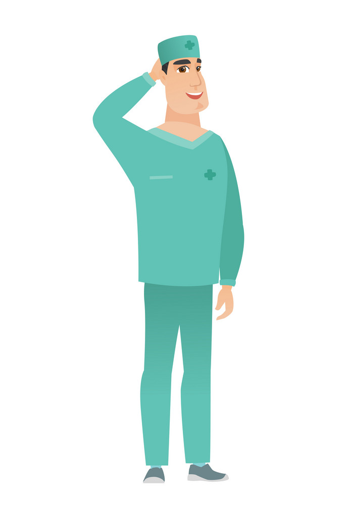 Caucasian doctor in uniform scratching his head. Full length of thoughtful doctor scratching head. Puzzled doctor scratching his head. Vector flat design illustration isolated on white background.