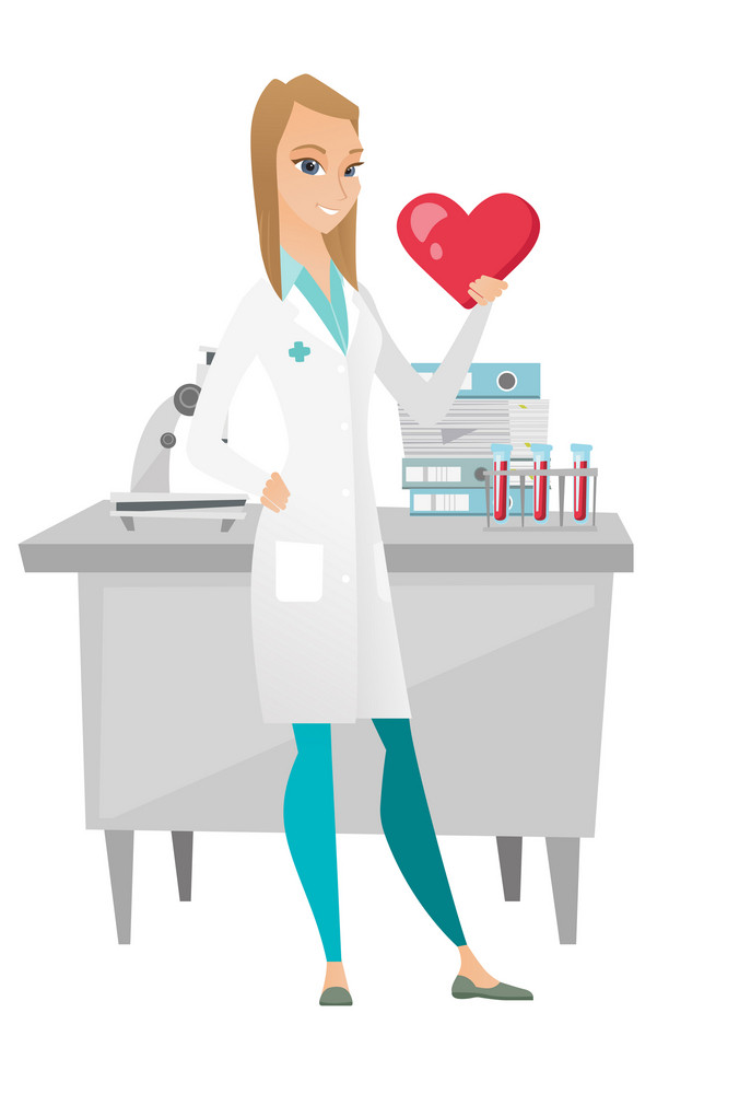 Caucasian doctor showing red heart in medical office. Young doctor with heart shape. Happy doctor in medical gown holding a red heart. Vector flat design illustration isolated on white background.