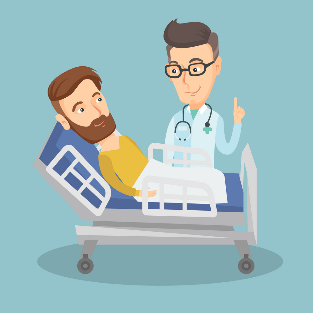 Caucasian doctor visiting hipster patient. Doctor pointing finger up during visiting of patient. Man lying in hospital bed while doctor visits him. Vector flat design illustration. Square layout.