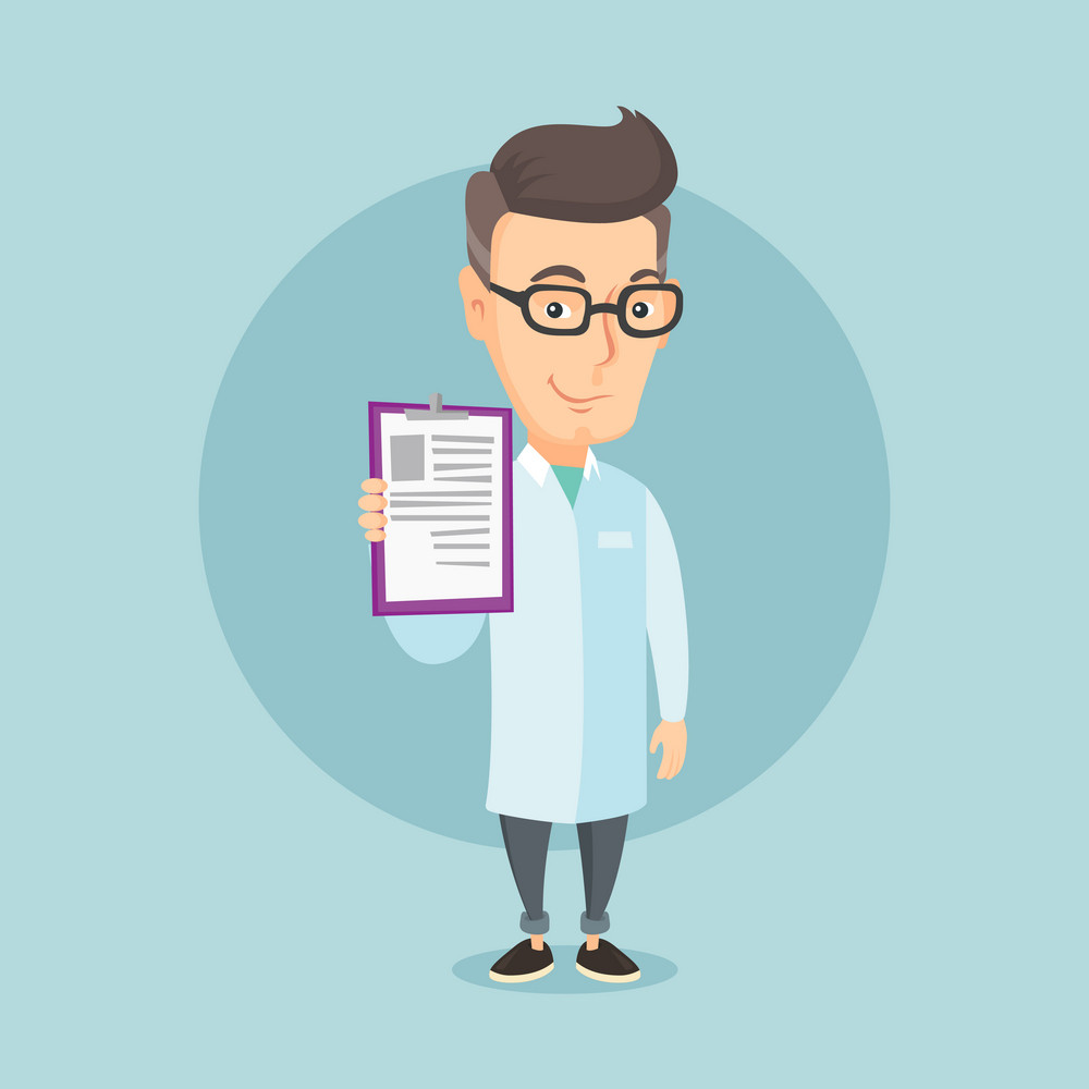 Caucasian doctor with patient records. An adult doctor showing clipboard with prescription. Smiling doctor in medical gown holding clipboard. Vector flat design illustration. Square layout.