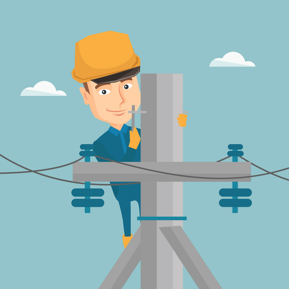 Caucasian electrician in hard hat working on electric power pole. Electrician at work on electric power pole. Electrician repairing electric power pole. Vector flat design illustration. Square layout.